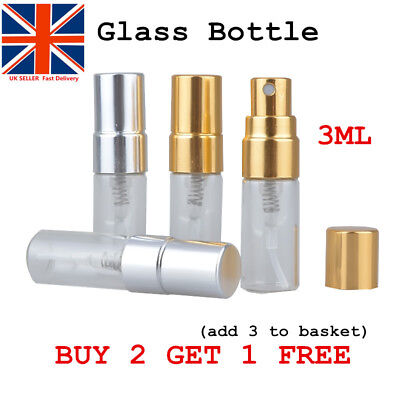 Mini 3ml Glass ATOMISER SPRAY BOTTLE PERFUME AFTERSHAVE REFILLABLE TRAVEL UKSHIP
