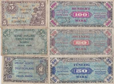 11 Old Ww2 Era German  Banknotes, 1944 & 1948 Germany Marks  V9