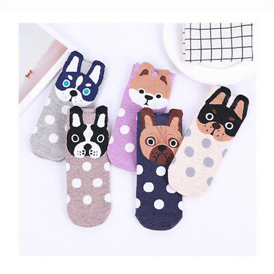 Women Cartoon Animal Puppy Printed Casual Breathable Cotton Socks Ankle Socks B