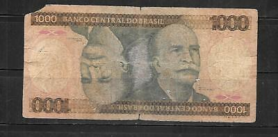 BRAZIL #201a 1981 1000 CRUZEIROS GOOD CIRC OLD BANKNOTE PAPER MONEY CURRENCY