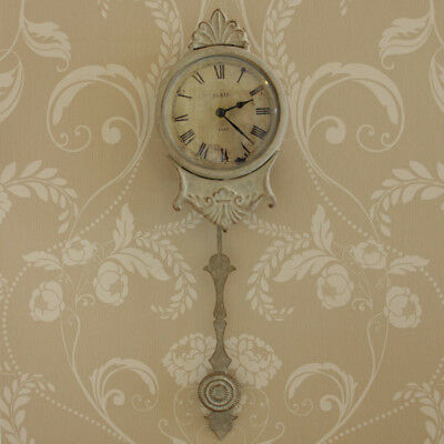 Cream metal small wall clock pendulum shabby french chic living room bedroom