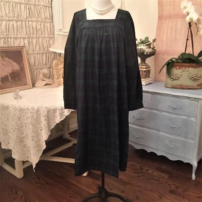 Vermont Country Store BLACK WATCH PLAID Long Flannel Nightgown Women's L LARGE