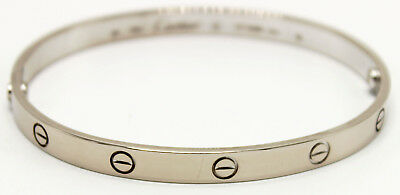 7af86343801ab AUTHENTIC CARTIER 18K White Gold Love Bangle Bracelet in Size 20 ...