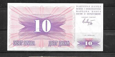 BOSNIA #10a VF CIRC 10 DINARA 1992 OLD BANKNOTE BILL NOTE CURRENCY PAPER MONEY