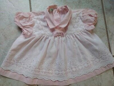 Vintage Antique Pink And White Infant Baby Dress Duets by Little Crafts XL