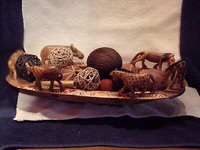 African Wood Bowl With African Wildlife Surrounding The Bowl