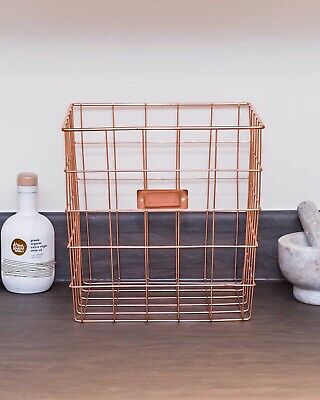 Wire Basket Storage Rose Gold Copper Tidy Toys Make up