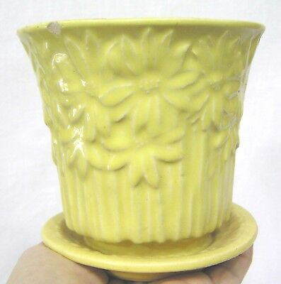 "Vintage McCoy Pottery Daisy Line Flower Pot and Saucer Yellow 1950s  4 3/4"" tall"