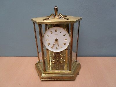 Vintage Kundo Brass Wind Up Anniversary Clock With Glass Cover