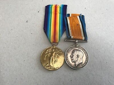 WW1 British War & Victory Medal Pair-Private:J.Cane-South Wales Borderers--9245