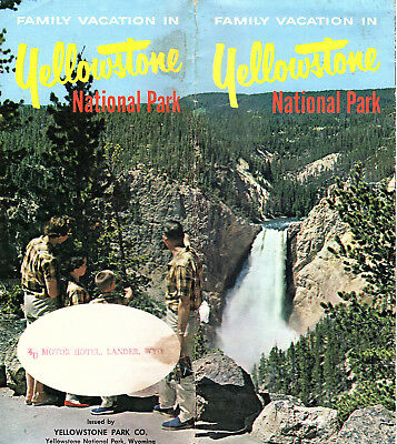 Yellowstone National Park 1963 Brochure Color Photos Points of Interest Map