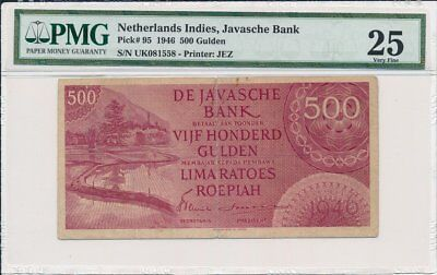 Javasche Bank Netherlands Indies  500 Gulden 1946  PMG  25