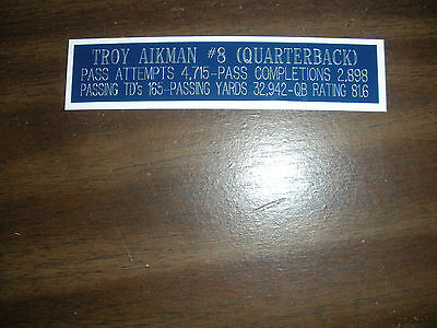 Troy Aikman Nameplate For Signed Ball Case/jersey Case/photo