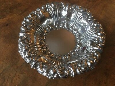 Silver Plated Deep Repousse Pin Dish Antique Ornate Bowl