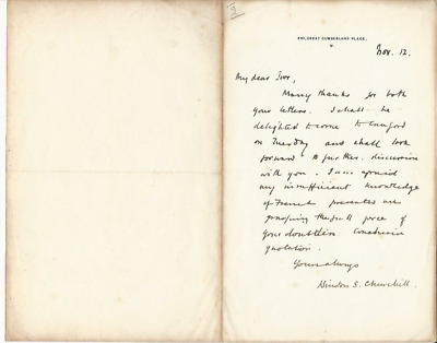 Winston Churchill penned letter to his Cousin dated November 12 w/ COA