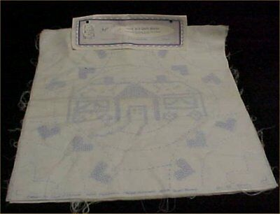 6 Vintage Fairway Quilt Block Cotton Fabric Stamped Embroidery House Home Estate