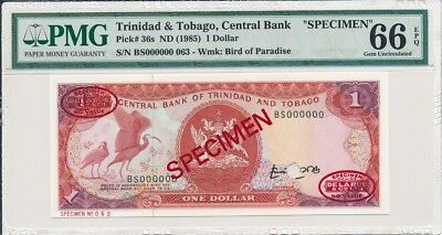 Central Bank Trinidad & Tobago  $1 1985 Specimen PMG  66EPQ