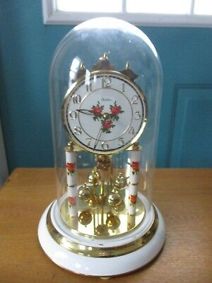 S. Haller Rose Design Anniversary Clock with Glass Dome - Untested
