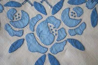 Antique Estate Cornflower Blue Madeira Luncheon Cloth & Naps Linen Excellent