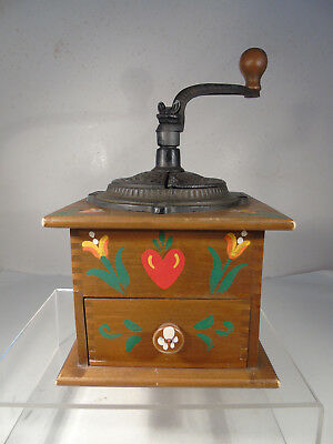 Vintage Coffee Grinder Wood & Cast Iron Hand Painted Working Condition