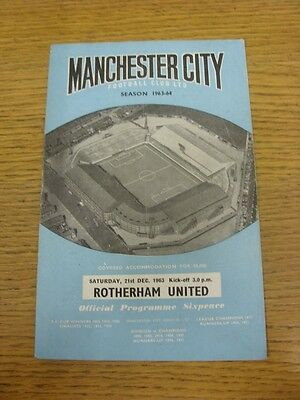21/12/1963 Manchester City v Rotherham United  (folded). Thanks for viewing this