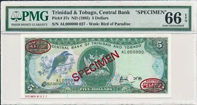 Central Bank Trinidad & Tobago  $5 ND(1985) Specimen PMG  66EPQ