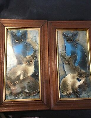"""Matching Vintage Sgraffito Modernist Siamese Cats Paintings 15"""" x 9""""  signed"""