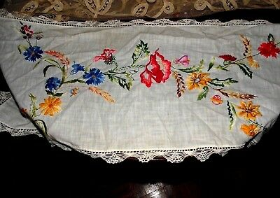 Antique Vintage Gorgeous Embroidered Floral Crochet Piano Table Runner tlc 32w