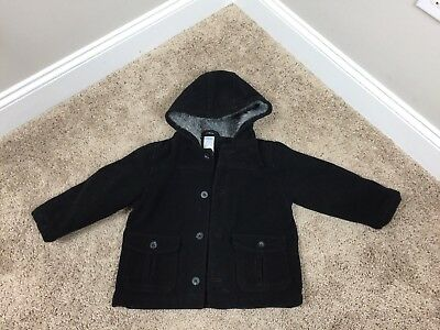 Gymboree Boys Coat Jacket Button Front Jacket Sz 2T -  3T Black Winter #23