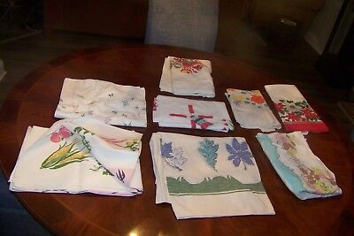 Vintage Lot Tablecloths Roses Pink Watermelons Windmills Floral Christmas As Is