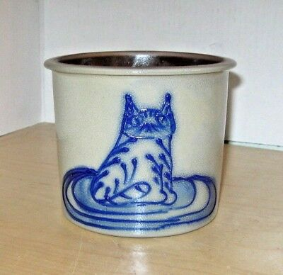 1993 Bbp Pottery Cat Decorated Stoneware Canister Crock, Free Shipping