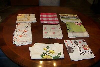 Vintage Lot Tablecloths Roses Flowers Red White Check Kitchen Retro As Is