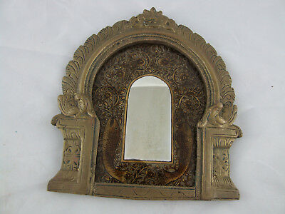 Anglo-Indian brass mirror hand painted fish miniature