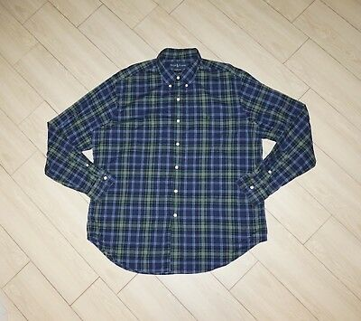 3f3f5ef5 MENS RALPH LAUREN Classic Fit Button Down Shirt Plaid Long Sleeve Blue XL  XLarge
