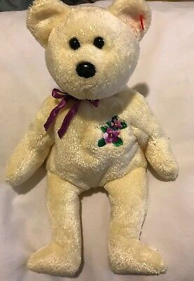TY Beanie Babies MOTHER Soft Plush Yellow Bear purple flower 2002 Much Loved
