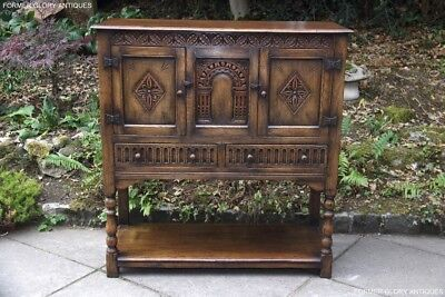 A Solid Carved Oak Drinks Wine Cabinet Sideboard Dresser Base Server Table Stand