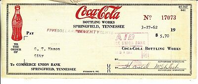 Coca-Cola Bottling Works. Check  Springfield Tennessee Dated 3/27/62