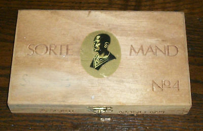 OLD SORTE MAND No4 OSLO NORWAY TOBACCO CIGAR WOOD BOX PURSE CRAFT GIFT BLACK MAN
