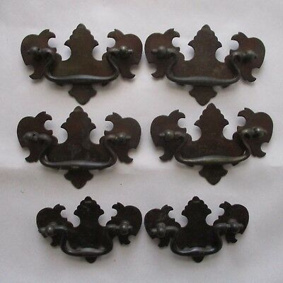 "Lot of 6 Chippendale Style Drawer Pulls, 4 @  2 1/2"" on Center, 2 @ 2"" O. C."