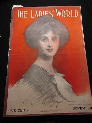 11/1912 Ladies World Magazine Charles Dana Gibson  Cover Zona Gale Article