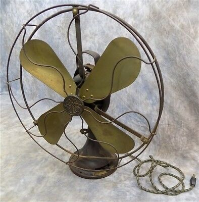 General Electric Fan Type AOU Form ABI 16 Inch Brass Blades Vintage Working