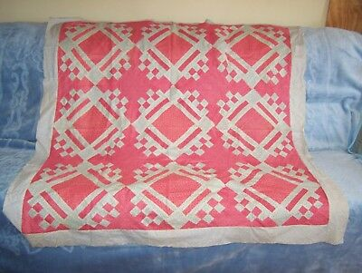 antique wall hanging, small quilt top; watermelon red; late 1800s - early 1900s;