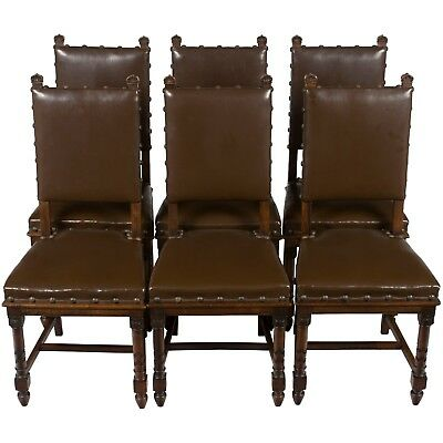 Antique Set of Six French Renaissance Carved Oak Leather Dining Kitchen Chairs