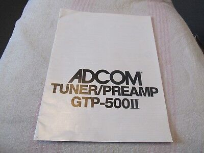 Adcom Model Gtp-500Ii. Original Owner's Manual Only. Tuner-Pre Amp. Used-Usa