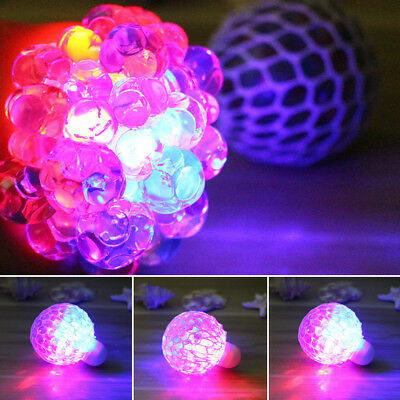 Squishy LED Mesh Grape Ball Squeeze Children Glowing Toys Stress Relief Gift