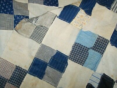 antique quilt top; 9 patch, blues, blacks, early 1900s; feedsack fabrics