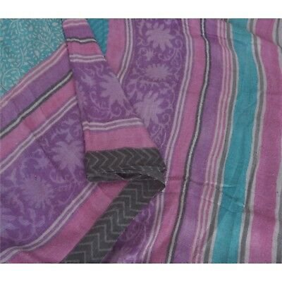 Sanskriti Vintage Blue Heavy Saree Pure Woolen Printed Fabric Craft Premium Sari