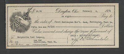 1926 Dayton Ohio { Fancy Antique Check } { Eagle / Us Flag Vignette }