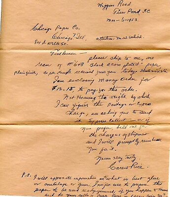 Carew Rice Famous Sc Silhouette Artist Autographed Letter Buying Silhou Supplies