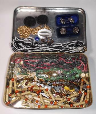 job lot Vintage tin and old Jewellery Beads in Huntley Palmer Tin Coaching scene